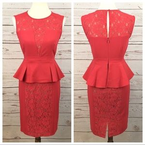 BCBG Red Coral Lace Geometric Peplum Midi Dress